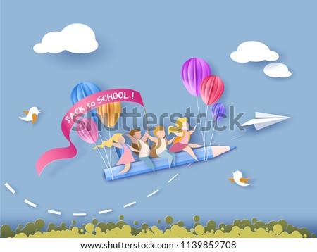 menina · feliz · voador · balão · diversão · cor · jovem - foto stock © pikepicture
