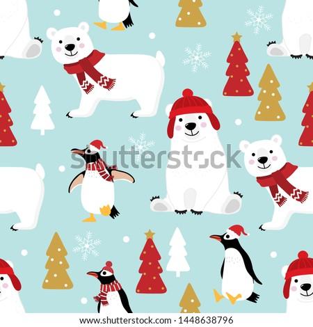 Noel kutup ayısı kırmızı eşarp sevimli hayvan Stok fotoğraf © ori-artiste