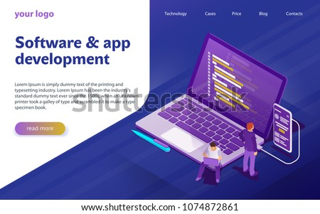 Isometric flat vector landing page template of product rating. Stock photo © TarikVision