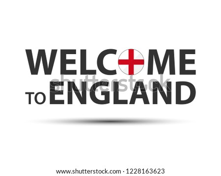 welcome to england symbol with english flag simple modern english icon isolated on white background stock photo © kurkalukas