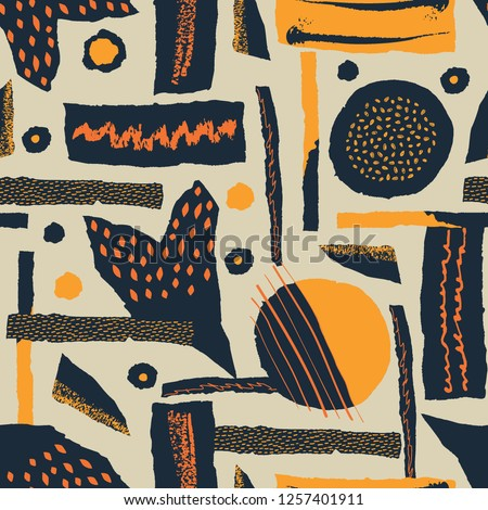 Vector seamless pattern. Torn paper decorated paint and ink spots. Interwoven strips with rough ribb Stock photo © user_10144511