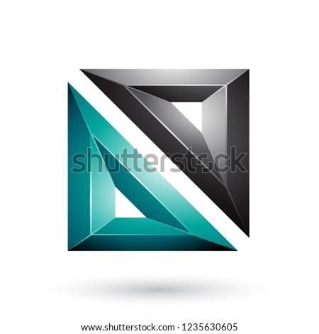 Green and Black Frame Like Embossed Square Shape Vector Illustra Stock photo © cidepix