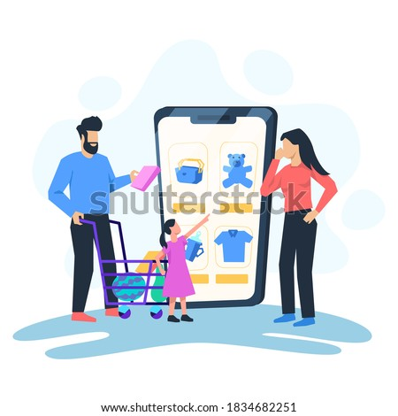 Online Shopping Vector. Mother, Father, Child With Shopping Chart In Mobile Family Online Shop. Illu Stock photo © pikepicture