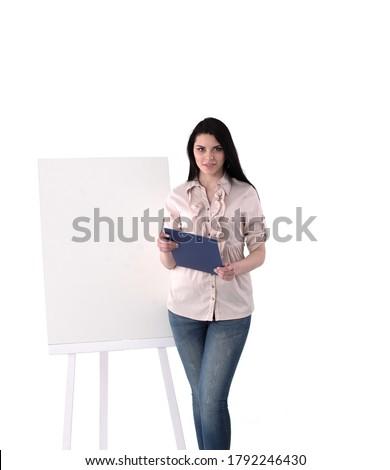 Foto stock: Jovem · conselho · adesivos · caneta · comprimido · belo
