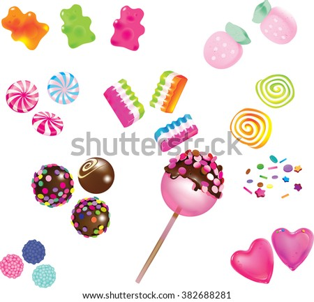 Colorful candy, jelly, lollipop on stick, scattering of multicolored sweets Stock photo © Illia