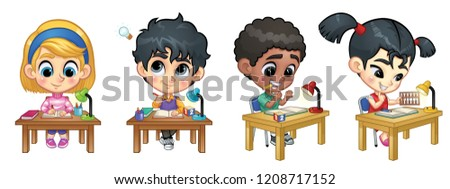 Asian Girl Kid Set Vector. Primary School Child. Schoolchild. Funny, Friendship, Happiness Enjoyment Stock photo © pikepicture
