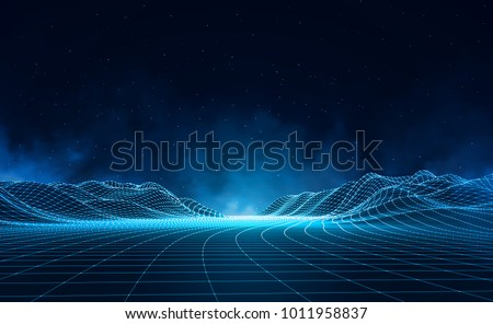 Wireframe landschap vector gegevens technologie golf Stockfoto © pikepicture