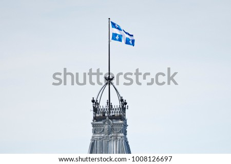 clock tower of the quebec parliament building in winter quebec city stock photo © lopolo