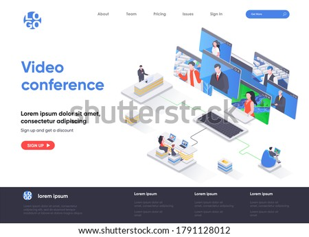 Flat isometric vector landing page template of cryptocurrency wallet. Stock photo © TarikVision