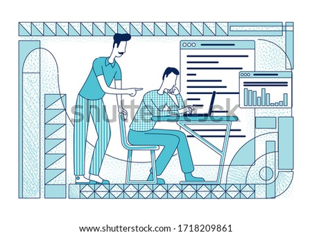 Silhouet jonge werknemers kantoor statistisch teamwerk Stockfoto © alphaspirit