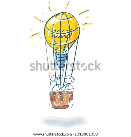 Stick figures in hot air balloon as a light bulb and many ideas Stock photo © Ustofre9