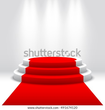 red carpet on a stage podium for award with lights effect white round stage with stairs pedestal f stock photo © andrei_