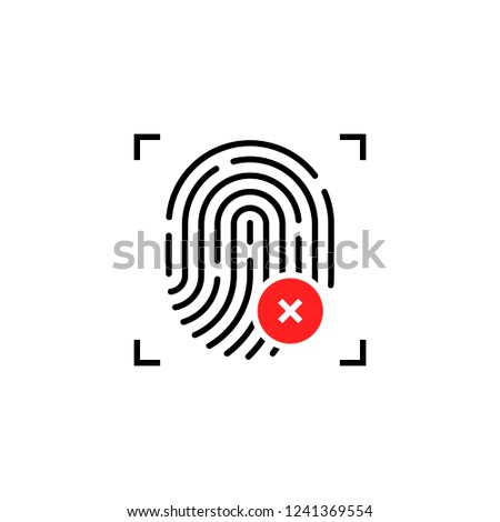 fingerprint icon with cross sign. concept of unlocking the phone with forefinger or incorrect choice Stock photo © kyryloff