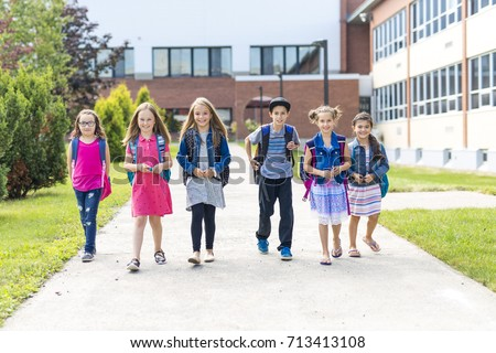 Great Portrait Of School Pupil Outside Classroom Carrying Bags with teacher Stock photo © Lopolo