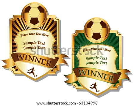 soccer game award vector football ball golden cup modern tournament design element for sport pro stock photo © pikepicture