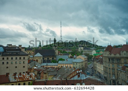 Aerial view of one of the central streets of Lviv in evening. Bl Stock photo © vlad_star