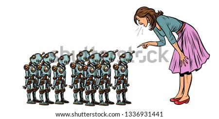 öğrenme yapay zeka kadın küçük robotlar pop art Stok fotoğraf © studiostoks