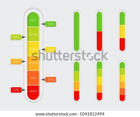 gauge level indicator icon set from low to high vector illustra stock photo © kyryloff