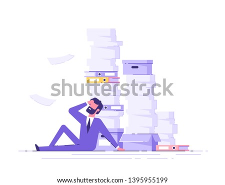 Businessman sitting around a pile of office papers and documents. Documents and file Routine, bureau Stock photo © makyzz