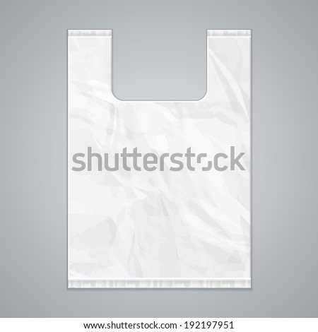 Plastic Bag With Handles Vector. Transparent Carrier Handle Wrinkled Wrap. Carry Empty Product Polye Stock photo © pikepicture