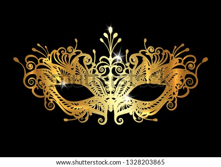 Carnival golden mask Vector realistic. Stylish Masquerade Party. Mardi Gras card invitation. Night P Stock photo © frimufilms