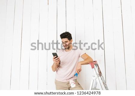 man · verf · muur · jonge · man · witte · home - stockfoto © deandrobot