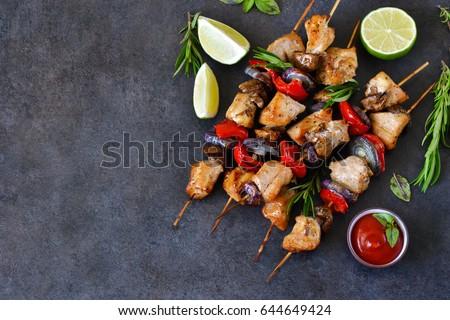 焼き鳥 新鮮な サラダ 辛い 食品 鶏 ストックフォト © BarbaraNeveu