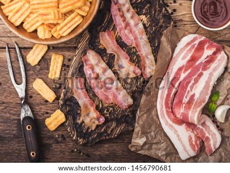 bacon · lanches · batatas · fritas · grelhado · vintage - foto stock © denismart