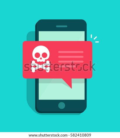 Malware notification on smartphone. Mobile phone with skull bones bubble speech red alert, concept o Stock photo © makyzz