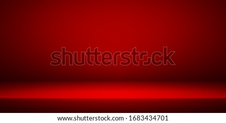 Empty red studio room interior. Clean workshop for photography or presentation. Vector illustration stock photo © olehsvetiukha
