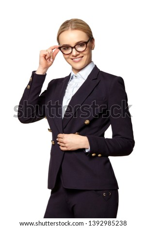 Cute young woman covenant eyeglass frames Stock photo © filipw