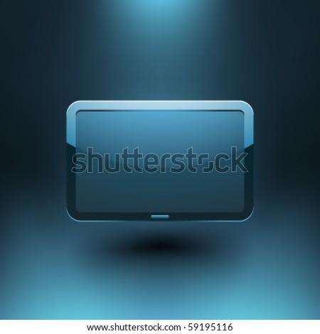 Bilgisayar monitörü mavi fütüristik duvar kağıdı yalıtılmış beyaz vektör Stok fotoğraf © kyryloff