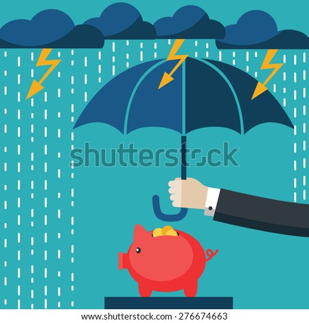 businessman with umbrella as protection for his investment flat vector illustration stock photo © makyzz