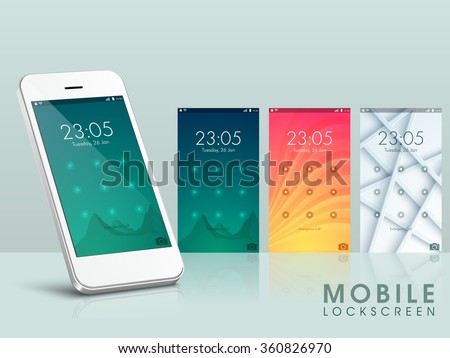 Modern Mobile Cell Phone with Lock Screen UI, UX and GUI Template. Stock photo © tashatuvango