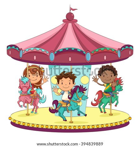 Children going on Merry Go Round, kids play on carousel in the summer BANNER, LONG FORMAT Stock photo © galitskaya
