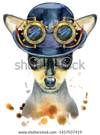 Watercolor portrait of toy terrier with hat bowler and steampunk glasses Stock photo © Natalia_1947
