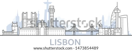 outline of lisbon cityscape   old town view with landmarks of li stock photo © winner