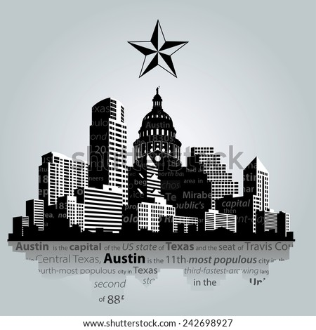 Silhouette austin ville Texas Skyline centre-ville Photo stock © Winner