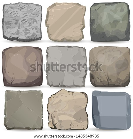 Rock stone cartoon banner. Square stone panel. Big boulder flat style. Vector construction element Stock photo © Andrei_