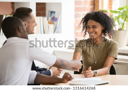 businessman employee candidate shaking hands with company leader Stock photo © snowing