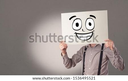 Student papier lachend emoticon gezicht Stockfoto © ra2studio