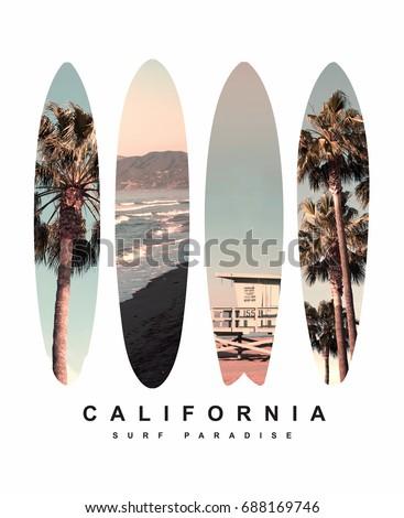 Stock fotó: Kalifornia · pálmafák · tengerpart · grafikus · póló · klasszikus