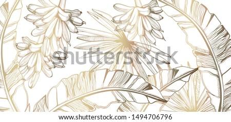 Folhas de palmeira bananas padrão dourado vetor Foto stock © frimufilms