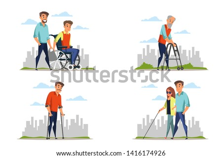 Young woman and old man on outdoor stroll flat vector illustration Stock photo © Decorwithme