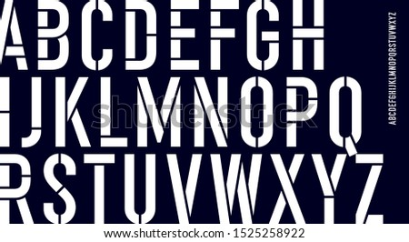 Stencil font. Black and white condensed alphabet and line font Stock photo © FoxysGraphic