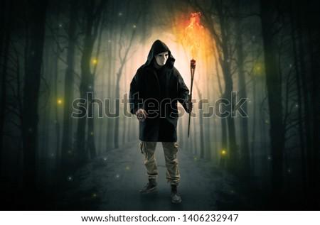 Férfi sötét erdő égő kéz titokzatos Stock fotó © ra2studio