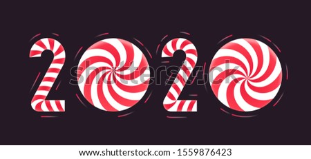 Christmas or New Year greeting card. Candy cane number 2020 with santa hat and xmas ball on red back Stock photo © olehsvetiukha