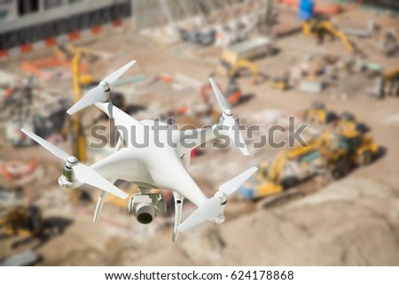 Unmanned Aircraft System Quadcopter Drone In The Air Over Roadwa Stock photo © feverpitch