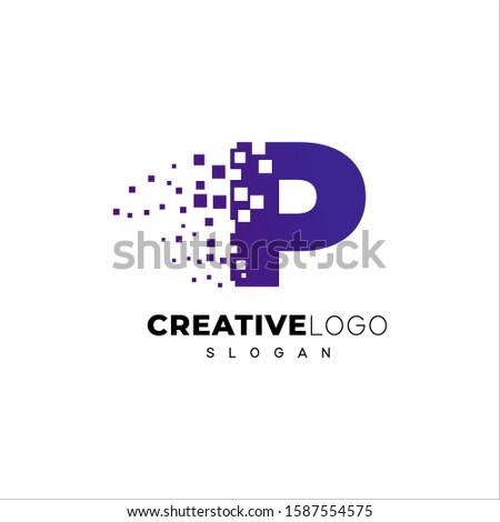 синий треугольник Пиксели дизайн логотипа корпоративного Tech Сток-фото © kyryloff