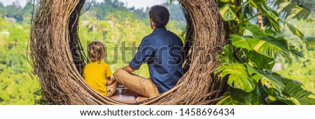 BANNER, LONG FORMAT Bali trend, straw nests everywhere. Child friendly place. Boy tourist enjoying h Stock photo © galitskaya